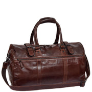 Brown Luxury Leather Holdall Travel Duffle Weekend Cabin Bag Targa With Belt
