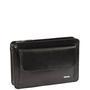 Mens Leather Wrist Bag Mobile Money Clutch A7 Black Front