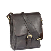 Mens Real Leather Cross body Messenger Bag A224 Brown With Belt