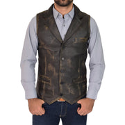 Mens Genuine Soft Leather Waistcoat Western Vest Yelek Rhys Rub Off Front 3