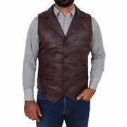 Mens Genuine Soft Leather Waistcoat Western Vest Yelek Rhys Brown Front 1