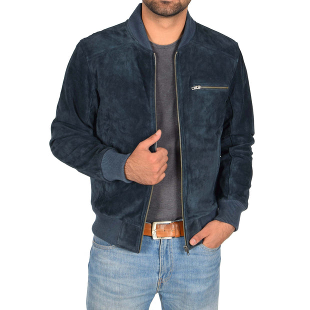 Mens Genuine Suede Bomber Jacket Roco Blue Open