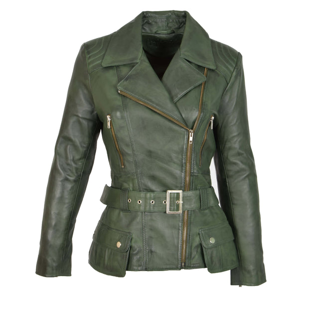 Womens Biker Leather Jacket Slim Fit Cut Hip Length Coat Coco Green Front 1