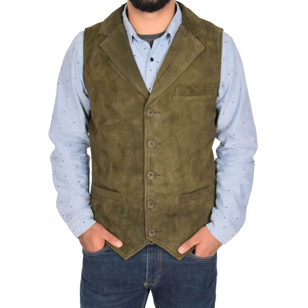 Mens Real Suede Leather Waistcoat Classic Vest Yelek Status Green Front 1
