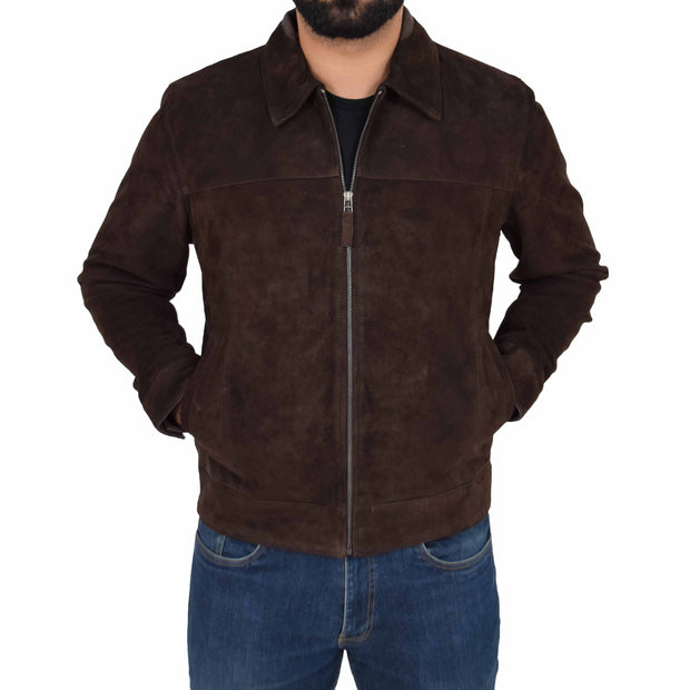 Mens Genuine Soft Suede Zip Jasper Blouson Jacket Baxter Brown Front