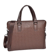 Unisex Slimline Brown Leather Briefcase Cross Work Satchel Shoulder Bag Benin