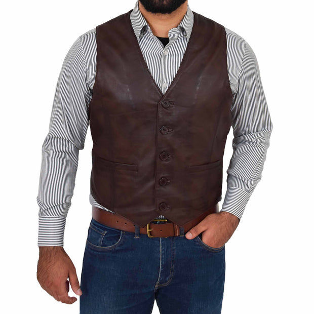 Mens Full Leather Waistcoat Gilet Traditional Smart Vest King Brown Front 1