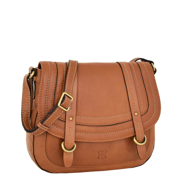Womens Latest Real Tan Leather Satchel Crossbody Handbag Elanor Front With Belt