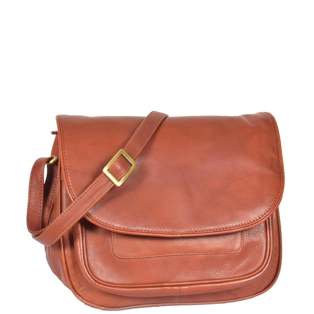 Womens Soft BROWN Leather Multi Zip Pockets Shoulder Bag A95
