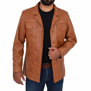Mens Real Leather Safari Jacket Retro Blazer Coat Sylas Tan Open 2