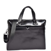 Italian Leather Black Briefcase Messenger Business Bag Denver