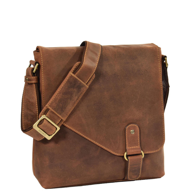 Real Leather Shoulder Messenger Vintage Organiser Flight Bag A761 Tan