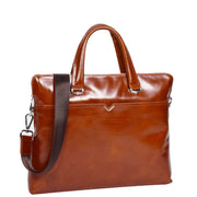 Italian Leather Tan Briefcase Messenger Business Bag Denver