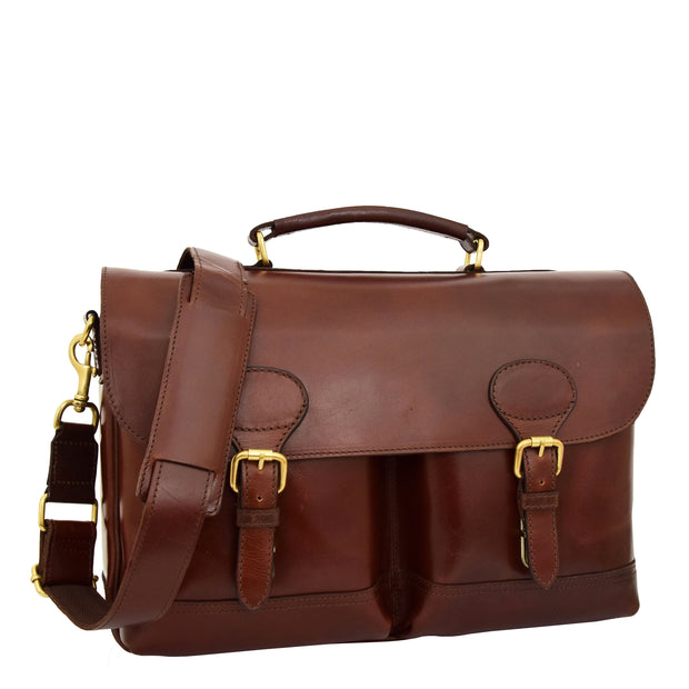 Luxurious Leather Briefcase Classy Business Laptop Bag Buddy Brown Front 2