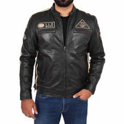 Mens Real Leather Biker Jacket Sports Badges Coat Saul Black Front 2