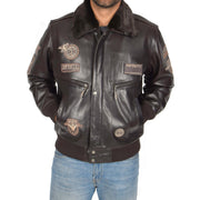 Mens Pilot Leather Jacket Air Force Badges Bomber Coat Luca Brown Front