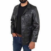 Mens Real Leather Safari Jacket Retro Blazer Coat Sylas Black Open 2