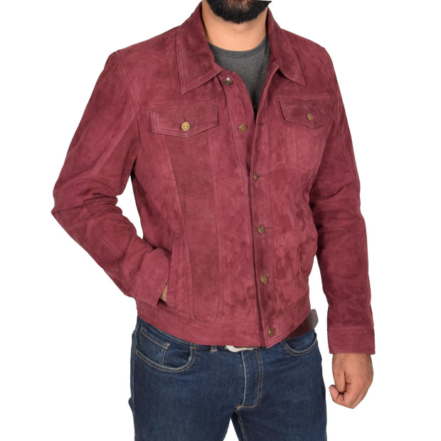 Mens Real Soft Goat Suede Trucker Denim Style Jacket Chuck Burgundy Front 2