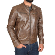 Mens Leather Jacket Biker Style Zip up Coat Bill Brown Front 1