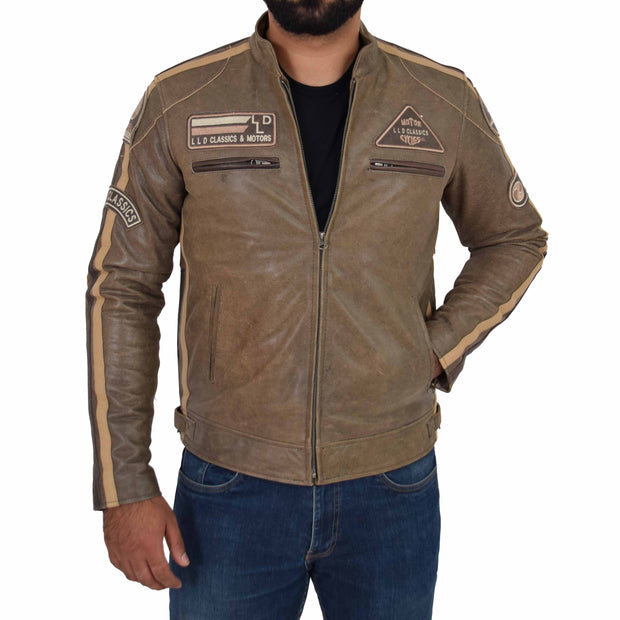Mens Real Leather Biker Jacket Sports Badges Coat Saul Brown Front