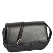 Womens Black Leather Shoulder Messenger Handbag Ada Front Angle With Belt