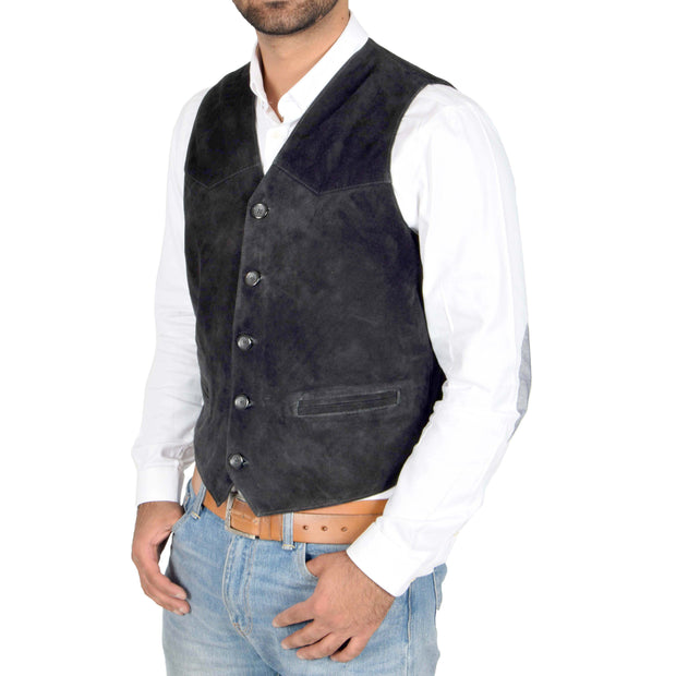 Mens Real Suede Leather Waistcoat Classic Vest Gilet Cole Black Front