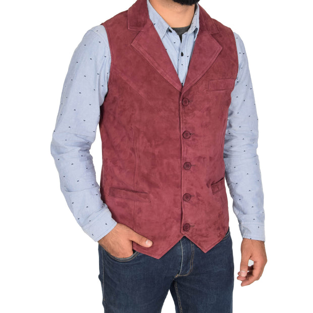 Mens Real Suede Leather Waistcoat Classic Vest Yelek Status Burgundy Front 2