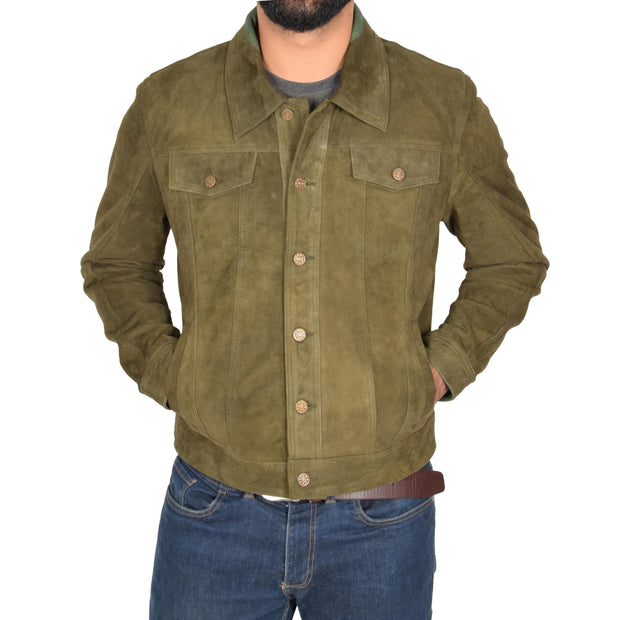 Mens Real Soft Goat Suede Trucker Denim Style Jacket Chuck Green Front 2