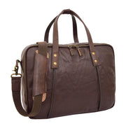 Womens Leather Briefcase Shoulder Organiser Laptop Handbag Acer Brown Feature 2