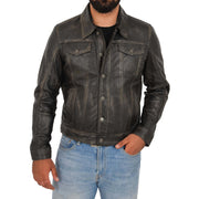 Mens Trucker Leather Jacket Vintage Western Denim Style Coat Bond Rub Off Front