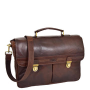 Genuine Leather Briefcase for Mens Business Office Laptop Bag Edgar Brown Front With Belt
