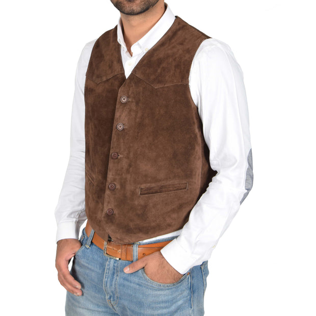 Mens Real Suede Leather Waistcoat Classic Vest Gilet Cole Brown Front