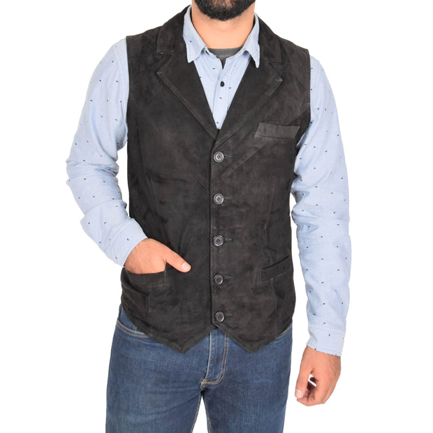 Mens Real Suede Leather Waistcoat Classic Vest Yelek Status Black Front 2