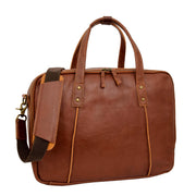 Womens Leather Briefcase Shoulder Organiser Laptop Handbag Acer Tan Feature 2
