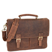 Mens REAL Leather Briefcase Vintage Look Satchel Shoulder Bag A167 Tan