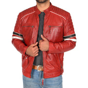 Mens Biker Leather Jacket Stripes Standing Collar Coat Ricky Red Open
