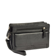 Real Leather Wrist Bag Clutch Travel Organiser Black A210