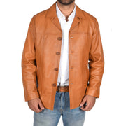 Mens Classic Blazer Buttoned Box Jacket Harris Tan open view 1