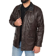 Gents Classic Soft Leather Parka Car Coat Parker Brown Open