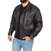 Mens Classic Bomber Soft Leather Jacket Alan Black side view