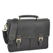 Mens REAL Leather Briefcase Vintage Look Satchel Shoulder Bag A167 Brown