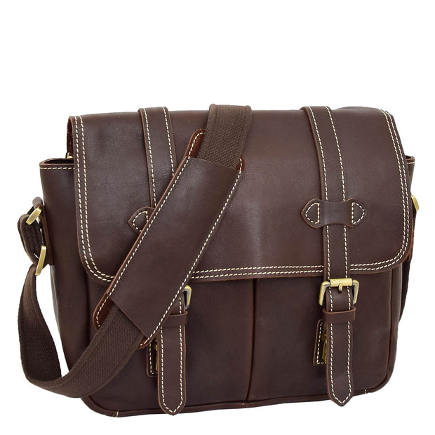 Real Leather Cross Body Shoulder Bag Multi Use Camera Organiser Bussell Brown Feature 2