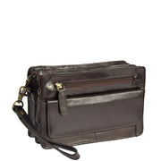 Real Leather Wrist Bag Clutch Travel Organiser Brown A210