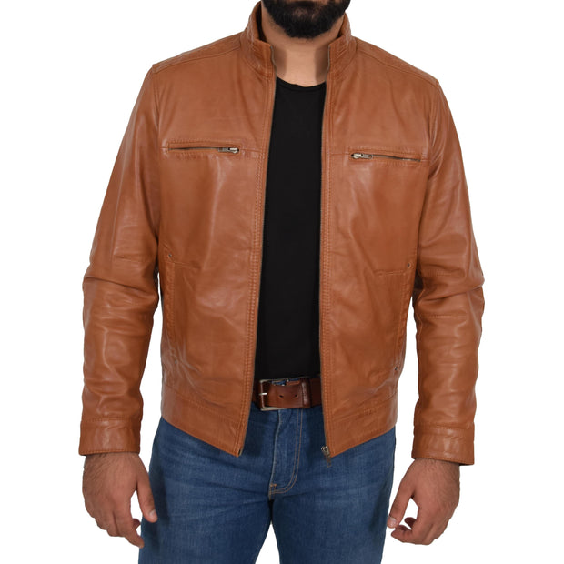 Mens Genuine Leather Biker Jacket Fitted Zip Up Coat Felix Tan Open 2
