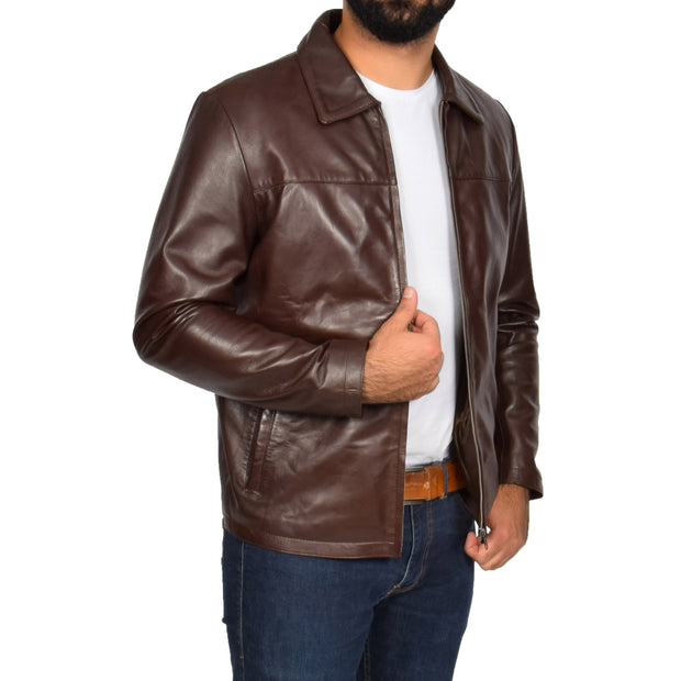 Mens Classic Zip Fasten Box Leather Jacket Tony Brown open zip