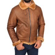 Authentic Aviator Coat Real Sheepskin Vintage Tan Bomber Jacket Tornado Front 1