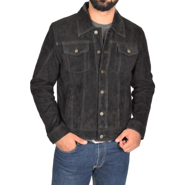 Mens Real Soft Goat Suede Trucker Denim Style Jacket Chuck Black Front 2