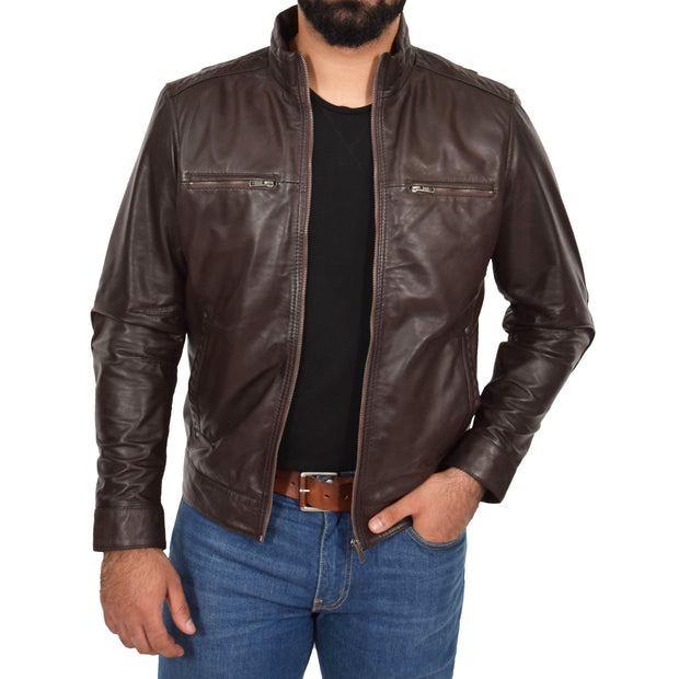 Mens Genuine Leather Biker Jacket Fitted Zip Up Coat Felix Brown Open 2