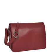 Womens RED Leather Shoulder Bag Classic Casual Cross Body Satchel A54