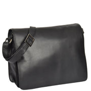 Womens BLACK Leather Messenger Cross body Shoulder Bag A53 Front
